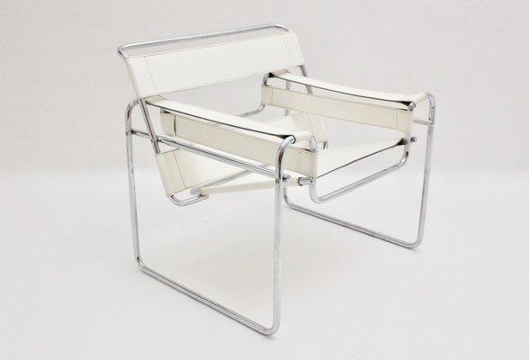 Chaise Wassily Blanche Vintage par Marcel Breuer en vente sur Pamono