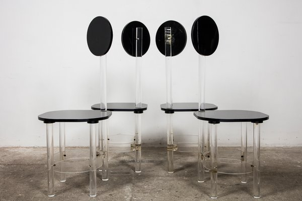 Black And Clear Sculptural Lucite High Back Dining Room Chairs 1970s Set Of 4