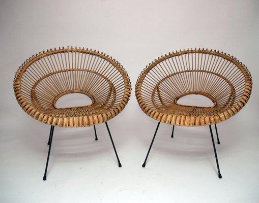 Französische Rattan Stühle 1960er 2er Set Bei Pamono Kaufen