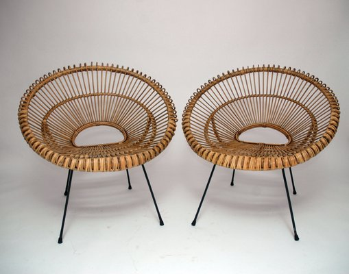 French Rattan Chairs 1960s Set Of 2 For Sale At Pamono