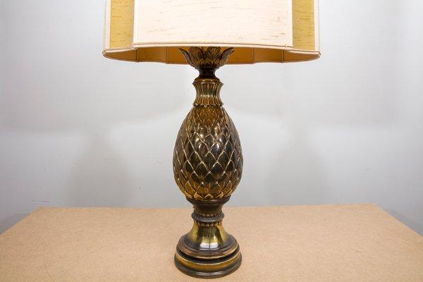 Lampada da tavolo con ananas in ottone di maison jansen anni