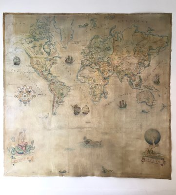 Large Vintage World Map in Oil on Canvas for sale at Pamono