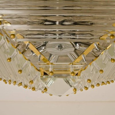 Large Italian Gold Plated Pyramid Flush Mount Ceiling Light From