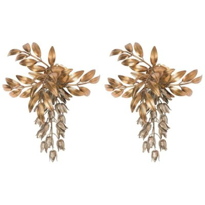 best sneakers 4b8c3 fbd2e Pioggia D'Oro Gilt Metal Palm Tree Wall Sconces by Hans Kögl, 1960s, Set of  2