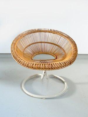Rattan Swivel Lounge Chair, 1960s 10