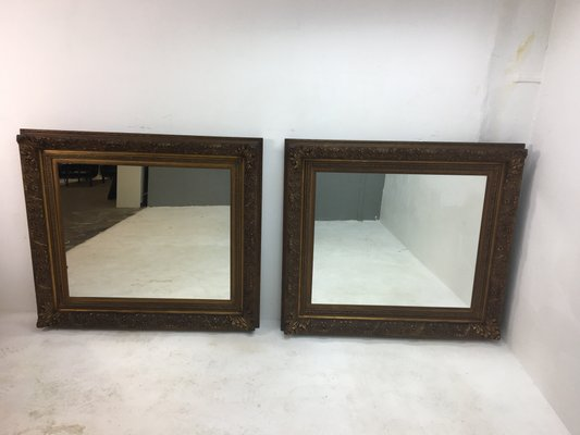 Specchi da parete con cornice di piume, Olanda, XIX secolo, set di 2 ...