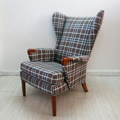 Checkered Wingback Chair With Teak Legs From Parker Knoll, 1960s 1