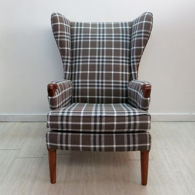 Checkered Wingback Chair With Teak Legs From Parker Knoll, 1960s 2