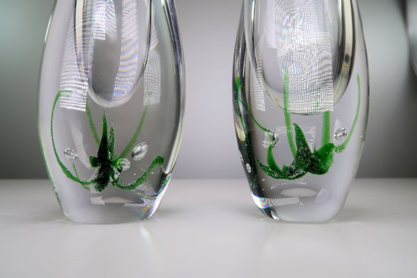 Mid Century Seagrass Art Glass Vases By Vicke Lindstrand For Kosta