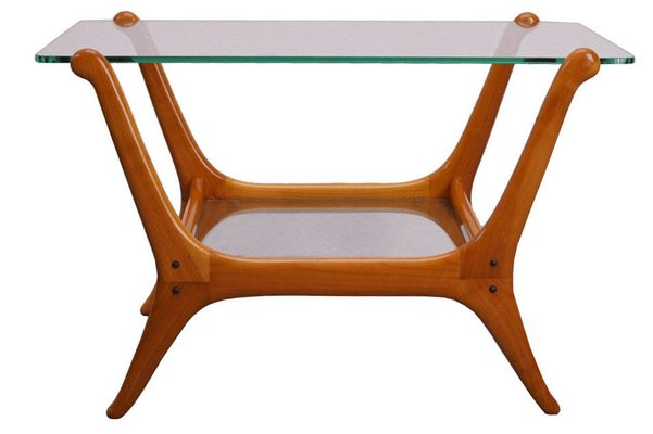 Mid Century Modern Teak And Glass Side Table