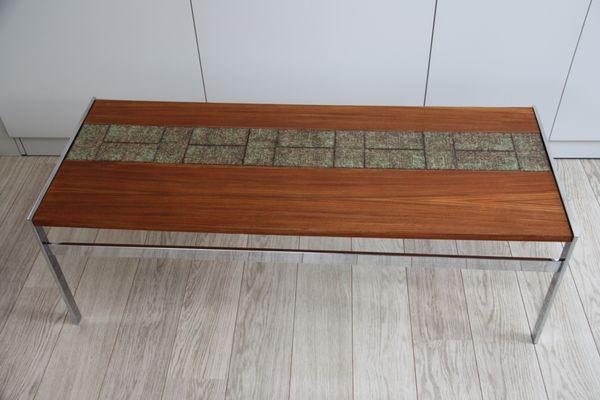 Tavolino da caffè vintage in legno con mattonelle in vendita su pamono