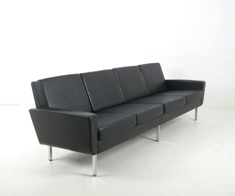 4 Seater Leather Sofa, 1960s 1