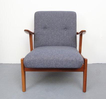 Vintage Teak Sessel In Blaugrau 1950er Bei Pamono Kaufen
