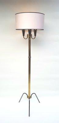 Vintage Black Gold Tripod Floor Lamp By Lunel