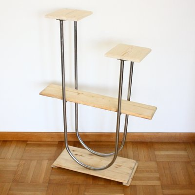 Vintage Chrome-Plating and Wood Plant Stand