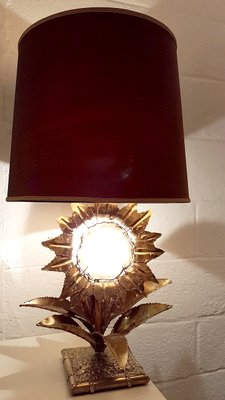 Lamp with Brass and Agate Stone by P. Mas Rossi, 1970s