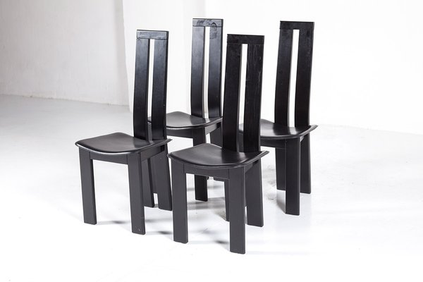 Black Dining Room Chairs By Pietro Costantini 1970s Set Of 4