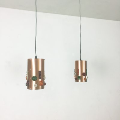 German Copper Pendant Lights, 1970s, Set Of 2 1