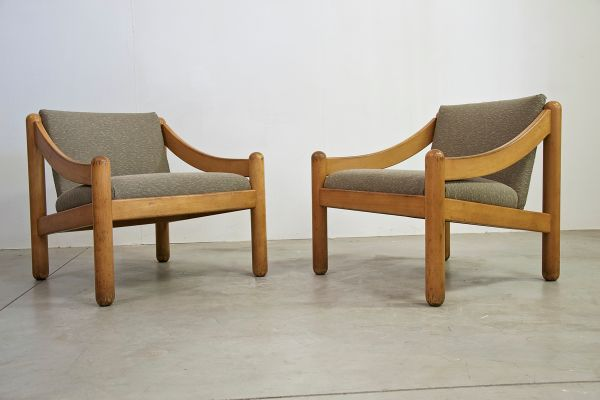 Vintage Armchairs By Vico Magistretti For Cassina, Set Of 2 1