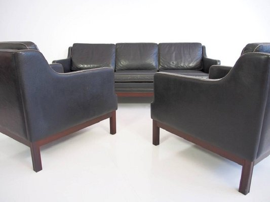 Swell Vintage Black Buffalo Leather Sofa Two Easy Chairs Set Of 3 Ibusinesslaw Wood Chair Design Ideas Ibusinesslaworg