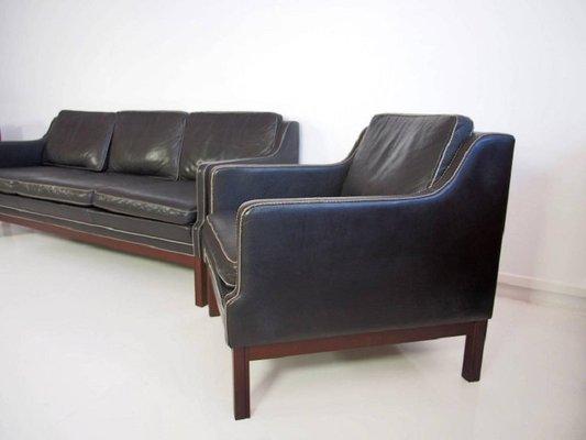 Vintage Black Buffalo Leather Sofa