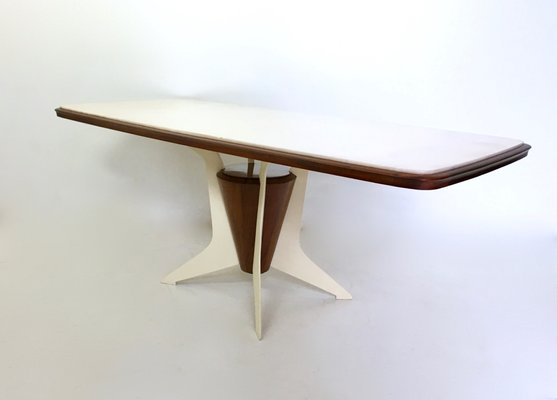 Italian Wooden Dining Table With Carrara Marble Top, 1950s 1