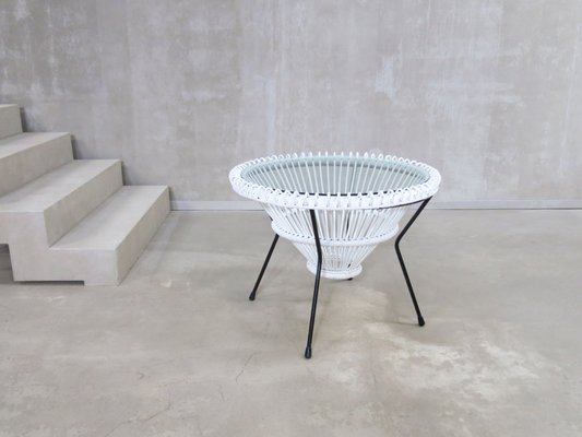White Lacquered Rattan Coffee Table By Franco Albini 1950s