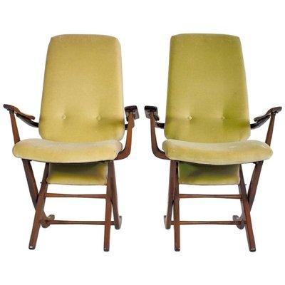 Poltrone vintage con schienale alto in legno e velluto, set di 2 in ...
