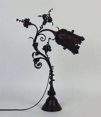 Antique Art Nouveau Wrought Iron Table Lamp By F Marrol For Sale At