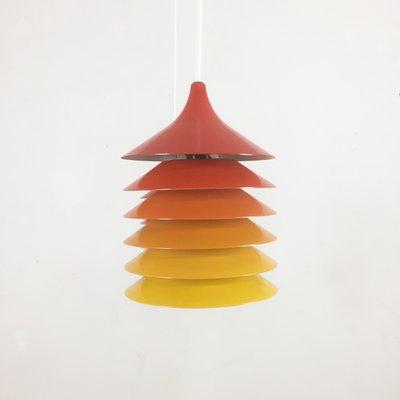 Lampes A Suspension Duett Vintage En Orange Jaune Et Rouge Par Bent Gantzel Boysen Pour Ikea 1970s Set De 3