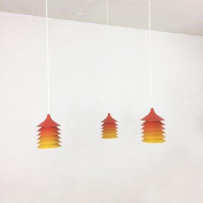 Lampes à Suspension Duett Vintage en Orange, Jaune et Rouge par Bent Gantzel Boysen pour Ikea, 1970s, Set de 3