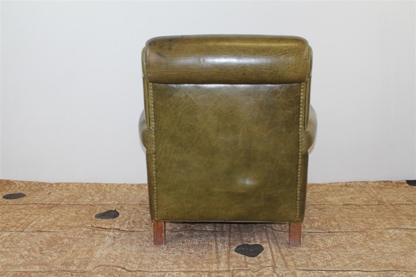 Superieur Vintage Club Chair In Green Leather With Pouf And Smoker Table By Giuseppe  Mazza For Baxter
