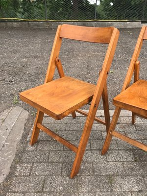 Excellent Mid Century Folding Chairs In Beech 1950S Set Of 10 Caraccident5 Cool Chair Designs And Ideas Caraccident5Info