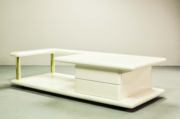 Mid Century Italian Brass And White Glossy Lacquered Coffee Table 1