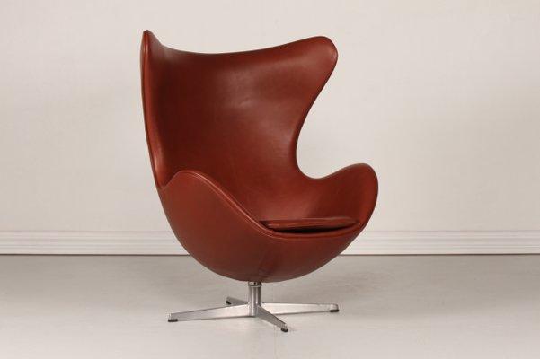 3316 Cognacfarbener Leder Egg Chair Von Arne Jacobsen Fur Fritz