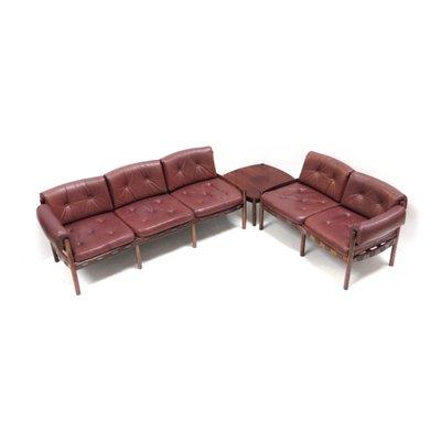 Divano angolare in pelle con tavolino, anni \'60 in vendita su Pamono
