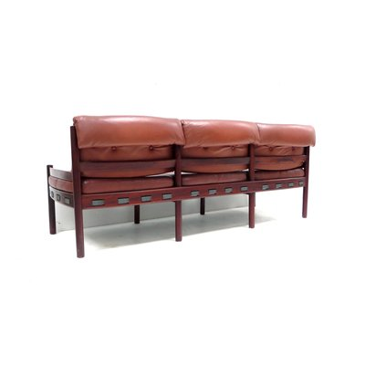 Leather Corner Sofa with Table, 1960s