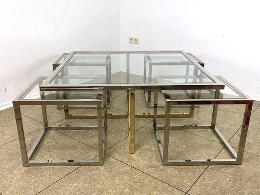 Table Basse Avec Tables Maison Vintage Charles1960s 4 En Laiton Gigognes Par Chrome Et y8nmOvwPN0