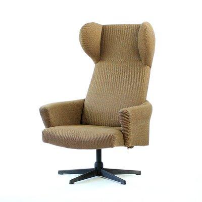 Czechoslovakian Swivel Wingback Chair In Brown Fabric, 1970s