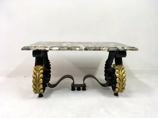 Merveilleux Mid Century French Metal And Marble Coffee Table 1