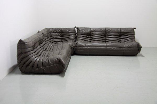 Graphite Leather Togo Sofa Set By Michel Ducaroy For Ligne Roset