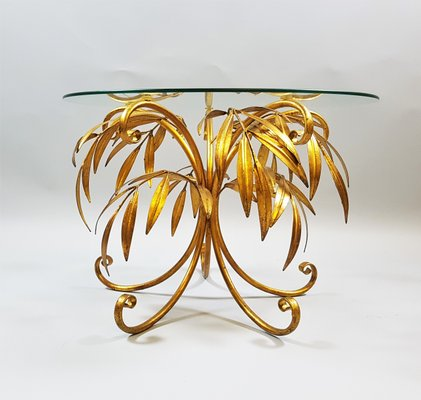 Beau Mid Century Gold Palm Tree Coffee Table By Hans Kögl 2