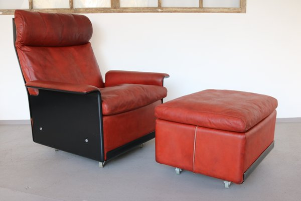 620 Highback Leather Lounge Chair Ottoman By Dieter Rams For
