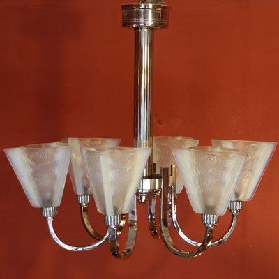Art Deco Deckenlampe mit 6 Armen und Opalglas Schirmen von Petitot ...