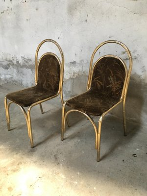 Gilt Metal Faux Bamboo Chairs, 1970s, Set Of 2 2