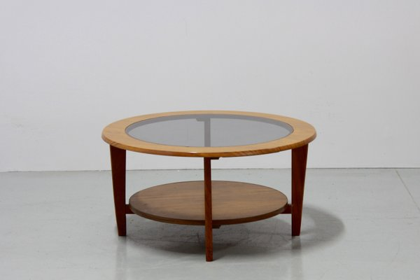 Vintage Danish Round Coffee Table With