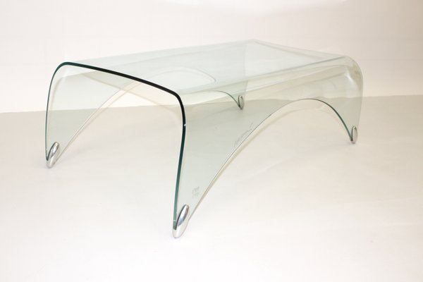 Superbe Vintage Glass Coffee Table By Massimo Iosa Ghini For Fiamm 1