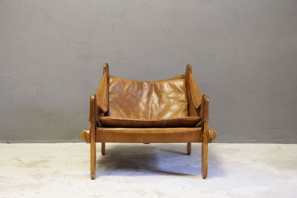 Scandinavian Thick Leather Sling Chair, 1960s 1