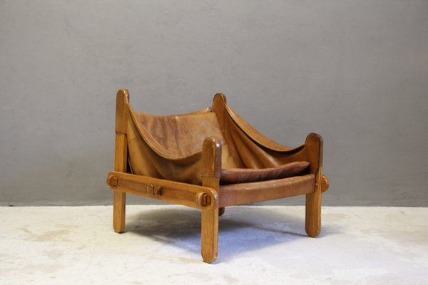 Superieur Scandinavian Thick Leather Sling Chair, 1960s 2