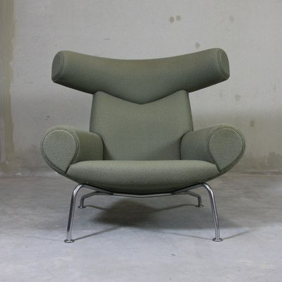 Lovely EJ 100 Ox Chair U0026 Footstool By Hans J. Wegner, 1960 2